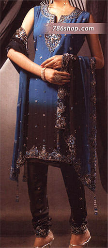 Blue/Dark Brown Crinkle Chiffon Suit | Pakistani Party and Designer Dresses