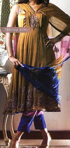 Mustard/Blue Crinkle Chiffon Suit | Pakistani Party and Designer Dresses