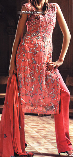 Tea Pink Chiffon Trouser Suit | Pakistani Party and Designer Dresses in USA