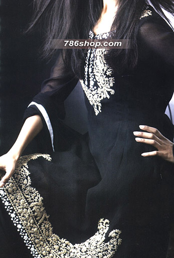 Black Crinkle Chiffon Suit   Pakistani Party and Designer Dresses in USA