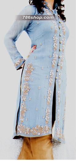 Sky Blue/Golden Crinkle Chiffon Suit | Pakistani Party and Designer Dresses