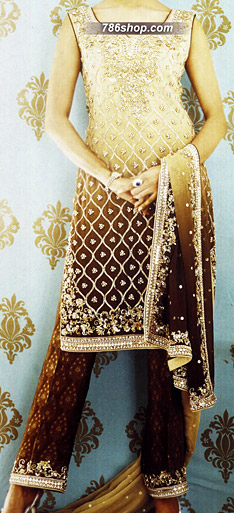Cream/Dark Brown Chiffon Trouser Suit | Pakistani Party and Designer Dresses in USA