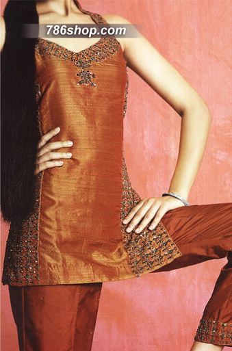 Rust Silk Trouser Suit | Pakistani Party and Designer Dresses in USA