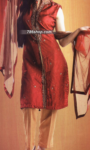 Red/Mustard Silk Suit   | Pakistani Party and Designer Dresses in USA