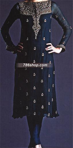 Navy Blue Crinkle Chiffon Suit    Pakistani Party and Designer Dresses