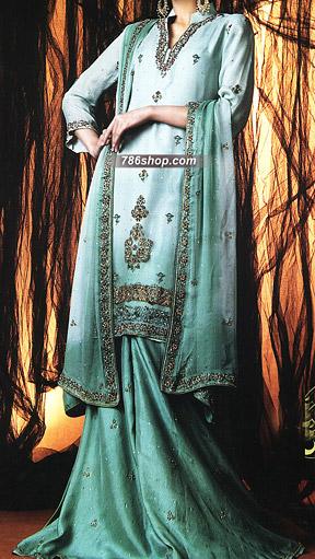 Sea Green Crinkle Chiffon Suit | Pakistani Wedding Dresses