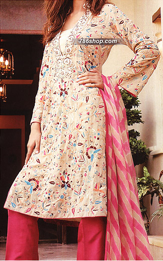 Fawn/Hot Pink Chiffon Suit     | Pakistani Party and Designer Dresses in USA