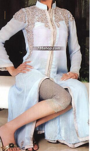 Sky Blue/Grey Crinkle Chiffon Suit      | Pakistani Party and Designer Dresses