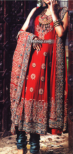 Red/Turquoise Crinkle Chiffon Suit     | Pakistani Party and Designer Dresses in USA