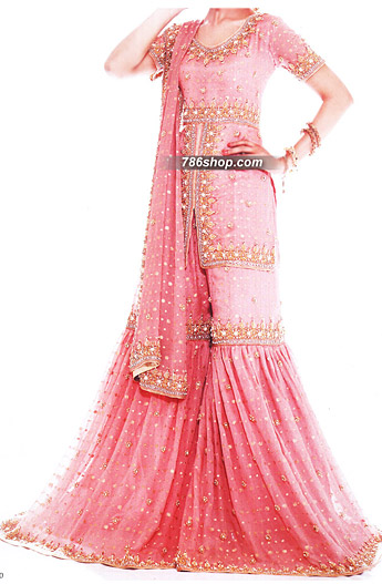 Pink Jamawar Chiffon Gharara | Pakistani Wedding Dresses in USA