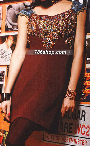 Brown �Georgette Suit | Pakistani Party and Designer Dresses in USA