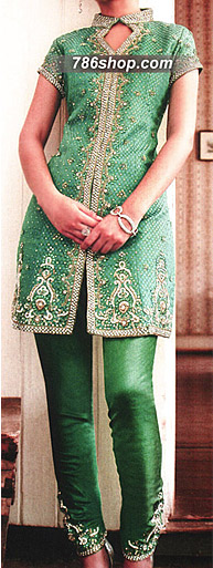 Green Jamawar Suit | Pakistani Party and Designer Dresses in USA