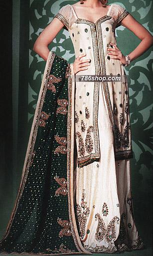 Off-White/Green Jamawar Lehnga | Pakistani Wedding Dresses in USA