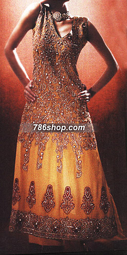 Mustard Chiffon Suit  | Pakistani Party and Designer Dresses in USA