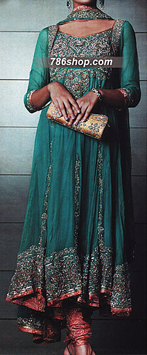 Teal Green Chiffon Suit  | Pakistani Party and Designer Dresses in USA