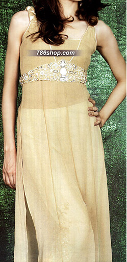 Light Golden Chiffon Suit | Pakistani Party and Designer Dresses in USA