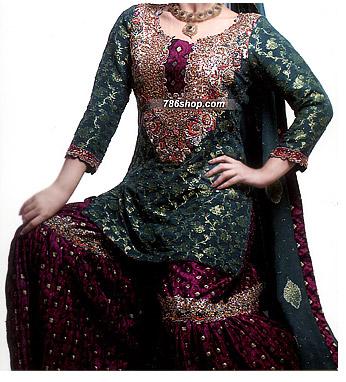 Green/Magenta Jamawar Zarri Gharara  | Pakistani Wedding Dresses