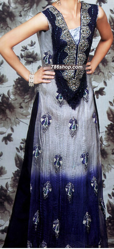 Grey/Navy Blue Crinkle Chiffon Suit  | Pakistani Party and Designer Dresses