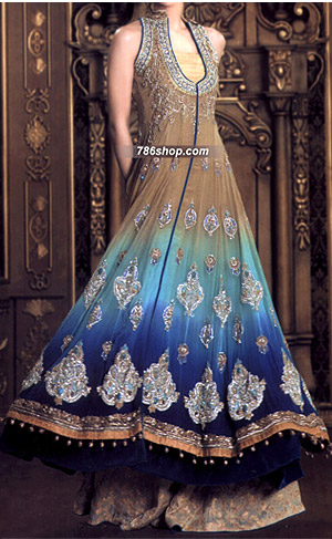 Brown/Blue Crinkle Chiffon Suit | Pakistani Party and Designer Dresses in USA