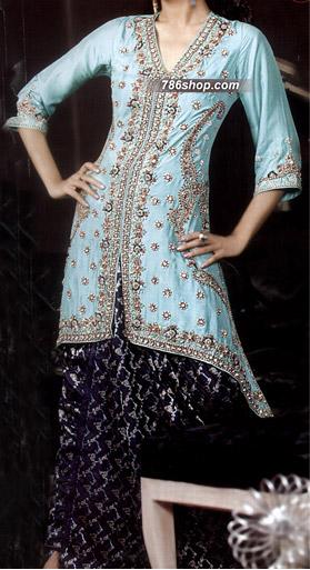 Sea Green/Navy Blue Crinkle Chiffon Suit    Pakistani Wedding Dresses