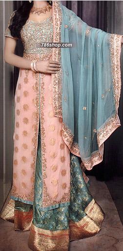 Peach/Sea Green Jamawar Chiffon Suit   Pakistani Wedding Dresses in USA