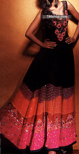 Black/Hot Pink Crinkle Chiffon Suit | Pakistani Party and Designer Dresses in USA