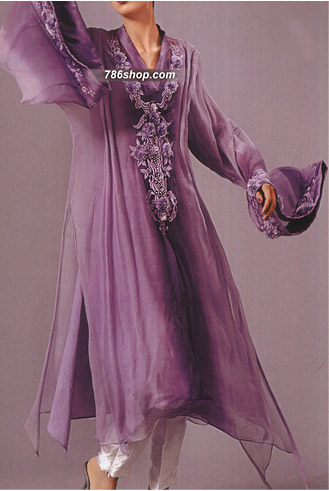 Purple Crinkle Chiffon Suit  | Pakistani Party and Designer Dresses in USA