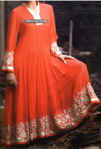 Orange Chiffon Suit | Pakistani Party and Designer Dresses in USA