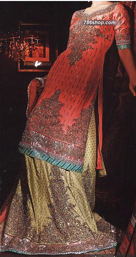 Peach/Light Green Jamawar Suit | Pakistani Wedding Dresses in USA