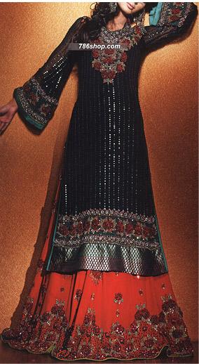 Black Red Crinkle Chiffon Suit Pakistani Wedding Dresses In Usa