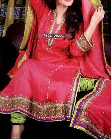 Hot Pink/Lime Green Jamawar Suit | Pakistani Party and Designer Dresses in USA