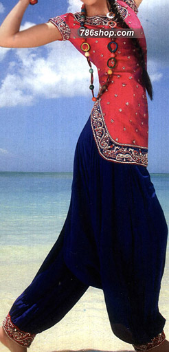Hot Pink/Blue Crinkle Chiffon Suit | Pakistani Party and Designer Dresses in USA
