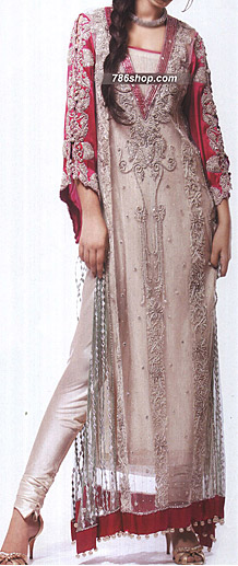 Ivory/Hot Pink Chiffon Suit | Pakistani Party and Designer Dresses in USA