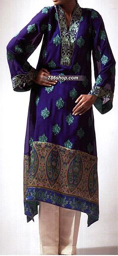 Royal Blue/Off-White Chiffon Suit    Pakistani Party and Designer Dresses