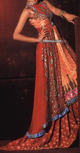 Red Jamawar/Chiffon Suit   | Pakistani Wedding Dresses in USA