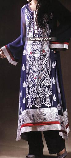 Navy Blue/Black Chiffon Suit | Pakistani Party and Designer Dresses