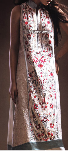 Off-White Chiffon Suit | Pakistani Party and Designer Dresses in USA