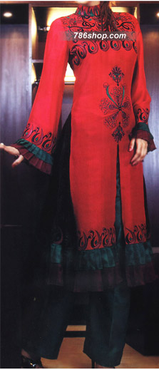 Red/Teal Green Crinkle Chiffon Suit  | Pakistani Party and Designer Dresses in USA