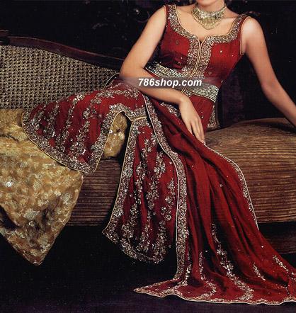 Red/Golden Chiffon Sharara | Pakistani Wedding Dresses