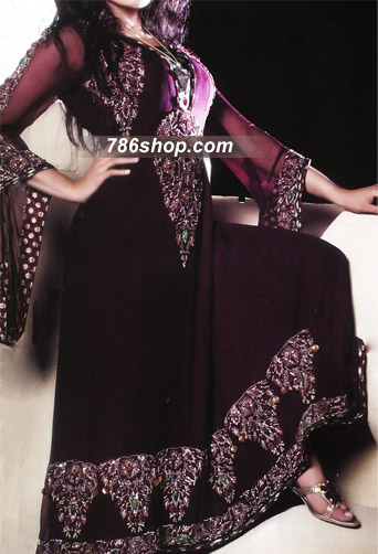 Dark Purple Crinkle Chiffon Suit | Pakistani Party and Designer Dresses in USA