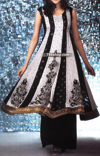 White/Black Chiffon Suit  | Pakistani Party and Designer Dresses in USA