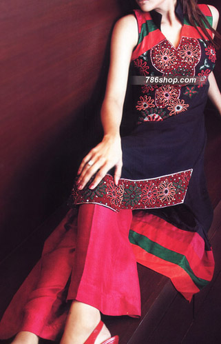 Navy Blue/Hot Pink Crinkle Chiffon Suit | Pakistani Party and Designer Dresses in USA