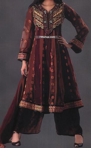 Brown Jamawar Chiffon Suit  | Pakistani Party and Designer Dresses in USA