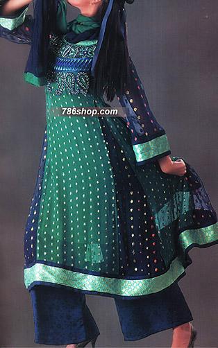Sea Green/Blue Jamawar Chiffon Suit | Pakistani Party and Designer Dresses