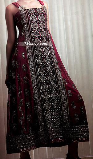 Dark Magenta Crinkle Chiffon Suit | Pakistani Party and Designer Dresses