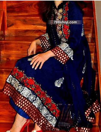 Blue Crinkle Chiffon Suit  | Pakistani Party and Designer Dresses