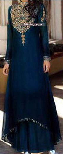 Navy Blue Crinkle Chiffon Suit  | Pakistani Party and Designer Dresses