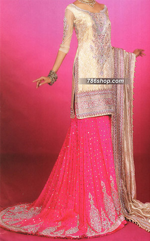 Golden/Hot Pink Chiffon Lehnga | Pakistani Wedding Dresses in USA