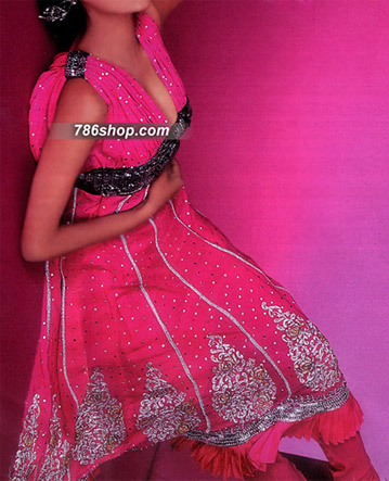 Hot Pink Chiffon Suit  | Pakistani Party and Designer Dresses in USA