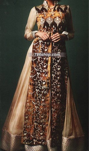 Golden/Brown Crinkle Chiffon Suit | Pakistani Party and Designer Dresses in USA